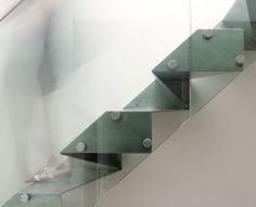 Grove Park House, London by  Bell Phillips Architects :: origami stainless steel stairs, folded triangular facets