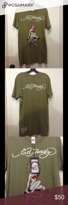 Auth Don Ed Hardy Tee Green Army, with original design for limited edition. 😘👍 Ed Hardy Tops