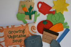 vegetable soup felt play set / felt pocket case $32 premade