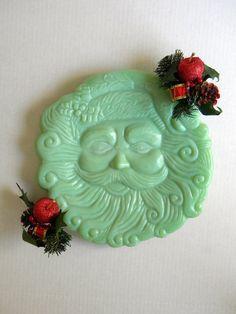 #Jadeite Jadite Jade Glass Santa Cookie plate by BelleBeauAntiquarian