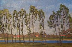 "Herman Katzler ""Trees Along a River"" 9x14 Oil Painting"