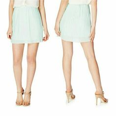 "Pleated mini skirt in mint . FIXED PRICE. Cute mini skirt in mint / green with beautiful pleated detailing, make it dashingly flowy to wear day to night. Pull on construction. Fully lined. Goes great with pantyhose during colder months.  Details: length 16"", waist 32"", stretches maximum to 42"", 100% polyester. JF Skirts Mini"