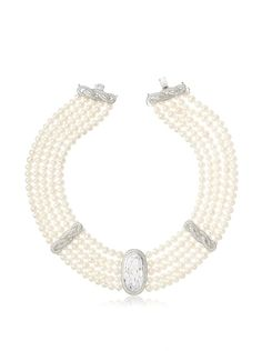 CZ by Kenneth Jay Lane Freshwater Pearl Drama Collar Necklace
