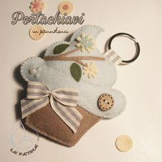 Portachiavi in pannolenci a forma di cupcake
