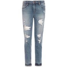 Joe'S Jeans Destructed Ankle Jeans ($189) ❤ liked on Polyvore featuring jeans, bijou blue, slouchy boyfriend jeans, boyfriend fit jeans, zipper jeans, torn boyfriend jeans and short pants