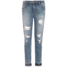 Joe'S Jeans Destructed Ankle Jeans ($189) ❤ liked on Polyvore featuring jeans, pants, trousers, bijou blue, torn boyfriend jeans, ankle jeans, zipper jeans, boyfriend ankle jeans and destroyed jeans