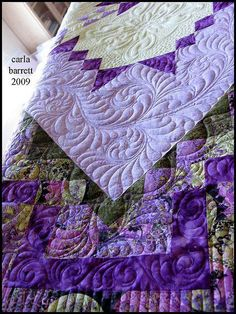 beautiful quilting and purple colors.quilting is a skill that all can learn. Join a quilting club and let your hidden talents and creativity come through to bring peace and joy into your home. Longarm Quilting, Free Motion Quilting, Hand Quilting, Textiles, Purple Quilts, Machine Quilting Designs, Quilting Ideas, Quilt Border, Art Textile