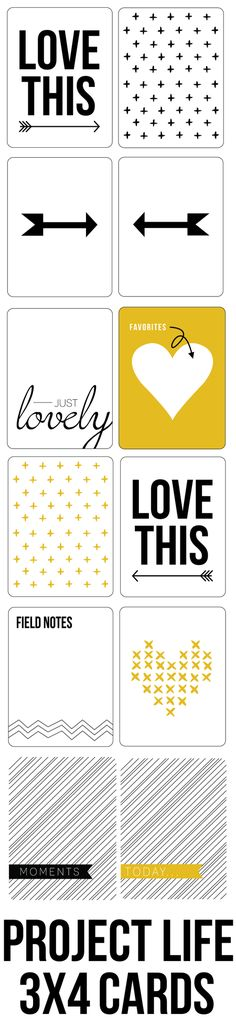 Free Black + Yellow + Grey Project Life Card Printables -- 3x4
