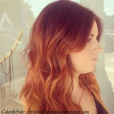 red to copper ombre waves long layers shiny hair color eufora styling products