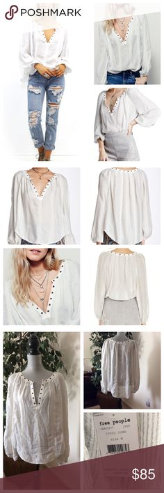 Free People Blouse Free People Against All Odds Blouse.  In an effortless, oversized fit this sheer blouse features metallic stripes, plunging V-neckline and metal grommet detailing. Long sleeves with elastic cuffs.  81% Rayon 19% Cotton Machine Wash Cold Free People Tops