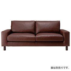 革張りソファ・ワイドアーム・2.5シーター/ブラウン