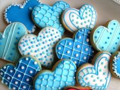 Reserved for Scarlet----Valentines Day Heart Cookie Favors - Valentine Cookies… Blue Cookies, Iced Sugar Cookies, Fancy Cookies, Heart Cookies, Summer Cookies, Cookie Icing, Royal Icing Cookies, Cupcake Cookies, Flower Cookies