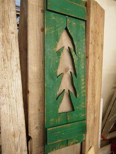 Christmas tree window shutter antique window by LynxCreekDesigns, $49.99