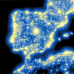 "Map of light pollution in the Iberian Peninsula from ""A Sky Without Stars"" story map. Source: Jaime Nieves"
