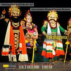 *This folk theater style is mainly found in the coastal districts and the Malenadu region of Karnataka*                         Yakshagana is traditionally presented from dusk to dawn.  #IncredibleIndia  #HireCruise   #ItHappensOnlyInIndia  #ReturnToIndia