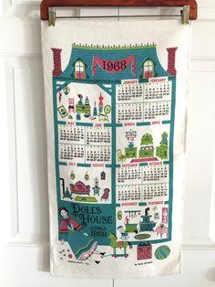 Vintage Calendar Towel 1968 Dollhouse Original Box at NeatoKeen
