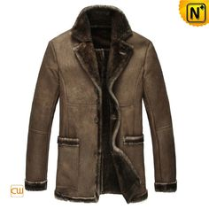 CWMALLS® Custom Mens Sheepskin Coat CW851298 - Custom sheepskin shearling coat for men, made with natural and quality sheepskin shearling material which has a vintage style, featuring with shearling collar, shearling trimmed pockets, sleeve cuff, bottom and front closure, you can have this beautiful sheepskin shearling coat customized according to your real size, so that you can stay completely comfortable and handsome in it.