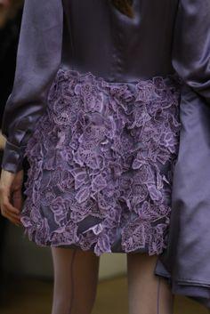 Alberta Ferretti. Purple lace applique skirt.