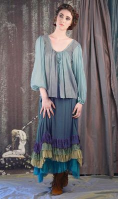 Four Winds Skirt — Sheer fall of iridescent silk over a contrasting lining..ending in three rows of soft ruffles, each a different piece of the rainbow. Shown with Elysium Skirt and Windrush Layer.