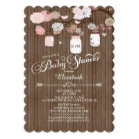Rustic Country Mason Jar Girls Baby Shower Card