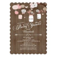 Rustic Country Mason Jar Girls Baby Shower Card