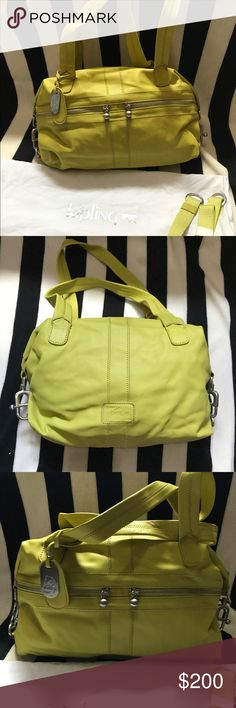 Kipling Lime / Yellow Soft Leather Satchel PRE-OWNED. See pics for signs of wear and measurements.  This is a limited Kipling design.  Long strap & original dust bag included. Kipling Bags Satchels