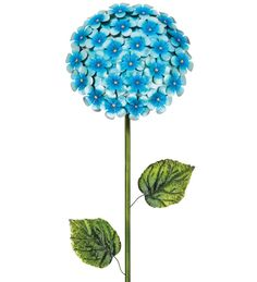 Awesome Giant  Hydrangea Flower Stake, Blue & Gold,Textured Metal,49''H.