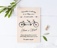 Invitatie pe lemn de balsa | ador Place Cards, Place Card Holders, Wedding, Valentines Day Weddings, Weddings, Marriage, Chartreuse Wedding