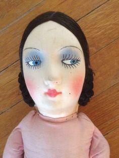 Boudoir-1920-034-s-Vintage-Flapper-Doll-Silk-Face-and-Hair-Cloth-Body-31-034-Long