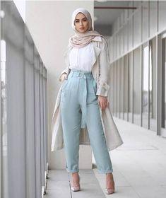 light blue dressy pants-Casual hijab summer looks – Just Trendy Girls