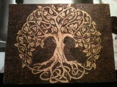 Celtic Knotwork Woodburned Tree of Life by AlabamaMountainFaery Celtic Symbols, Celtic Art, Celtic Knots, Irish Tattoos, Celtic Tattoos, Oak Tree Tattoo, Celtic Tree Of Life, Tattoo Feminina, Desenho Tattoo