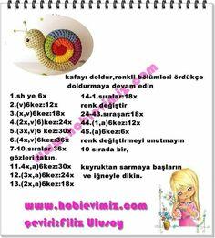 amigurumi salyongoz with remaining ropes - explanatory models Crochet Doll Pattern, Crochet Patterns Amigurumi, Amigurumi Doll, Crochet Motif, Crochet Dolls, Crochet Yarn, Free Crochet, Stuffed Animal Patterns, Crochet Animals