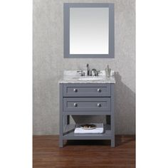 Stufurhome Marla 30 inch Single Sink Bathroom Vanity with Mirror in Grey