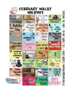 The Wacky Holidays Printables are BACK: Tell your friends! :D These are created for February 2018 but can be used for any month of Fe. Silly Holidays, Unusual Holidays, February Holidays, National Celebration Days, National Holiday Calendar, Special Day Calendar, National Holidays, National Days In February, Homecoming Spirit Week