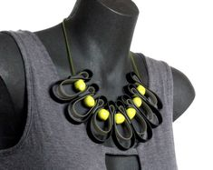citrus and black necklace, modern geometric necklace, urban street wear, rubber jewellery, designer necklace by frankideas, spring fashion. $55.00, via Etsy.