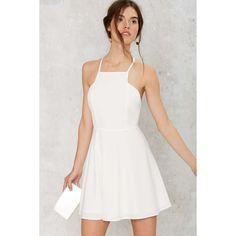 Square Headed Flared Dress (€60) ❤ liked on Polyvore featuring dresses, white, mini dress, white dress, white flared dress, white flare dress and zipper back dress