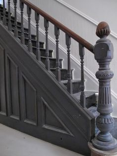 The Best 24 Painted Stairs Ideas for Your New Home Hallway – coat of Great white Farrow and ball floor paint + All white Farrow and ball walls and …Hallway – coat of Great white Farrow and ball floor paint + All white Farrow and ball walls and … Black Staircase, Staircase Landing, Staircase Design, Staircase Ideas, Painted Staircases, Painted Stairs, Architecture Restaurant, Stairs Architecture, Restaurant Design