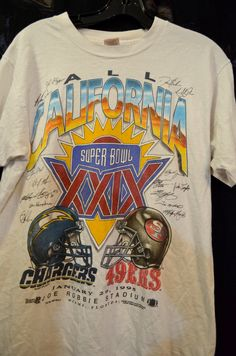 VINTAGE NFL football Super Bowl 49ERS vs. CHARGERS T Shirt signed Football  Sports Fans Collectors memorabilia Men s Size Medium 3ff189ce2