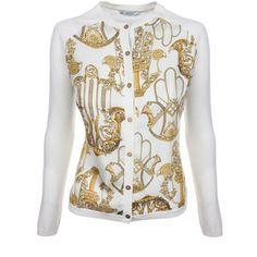 Versace Collection Hamsa Print Silk Patch Front Cardigan