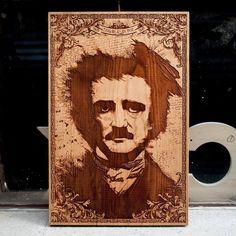 Laser Engraved Wooden Poster by SpaceWolf - Edgar Allan Poe