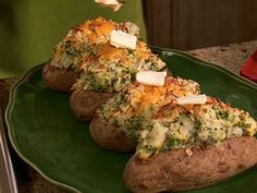 Neelys Twice Smashed Baked Potatoes with broccoli, smoked Gouda, and cheddar  from FoodNetwork.com