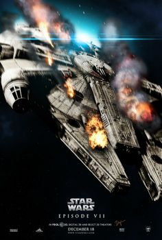 Flaming Millennium Falcon - Star Wars VII fan art Poster