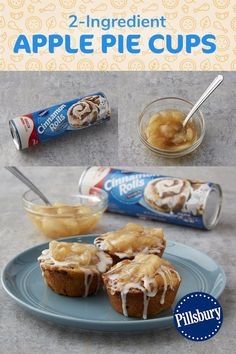 Yes, you can make tasty apple pie cups with just two ingredients! All you need are a can of Pillsbury™ refrigerated cinnamon rolls and apple pie filling. So easy! Pillsbury Cinnamon Rolls, Pillsbury Recipes, Köstliche Desserts, Delicious Desserts, Dessert Recipes, Quick Dessert, Apple Desserts, Cinnamon Roll Apple Pie, Apple Pie Bread