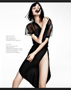 Say it Loud – Ranya Mordanova lets her inner vixen shine in these high gloss images by Naomi Yang for French Revue de Modes #20. Wearing a wardrobe of all Anthony Vaccarello styled by Yoko Miyake, Ranya sports a shear hair cut by Ramona and plum lips by Tatyana Makarova in the skin baring creations.