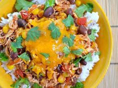 Chicken taco bowls -- I think if I drop the cilantro, this might be a winner in my house!