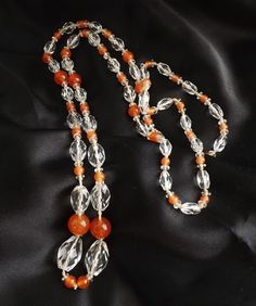 Art deco long crystal glass bead neckace .. vintage orange flapper oval jewelry