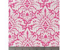 APT3-29- White & Hot Pink Damask Fabric