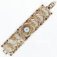 free shipping High quality antique gold alloy crystal diamond girl / lady quartz heart wrist watch strap is adjustable