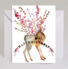 Flower Branches Fawn Watercolor Card by Masha D'yans