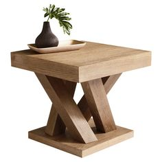 Square oak wood end table with a branching base. $256. Easy DIY     Product: End tableConstruction Material: Oak wood